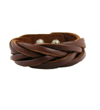 "BrownBeans- Fits 6.5""-7.5"" Wrist- Womens Casual Braided Brown Leather Comfortable Bracelet (LBCT5040) - C211DOP07N5"