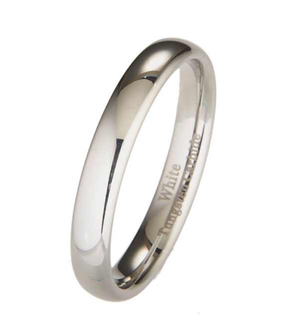 4 MM White Tungsten Wedding Band Dome Comfort Fit Ring Size 4 to 10 - CX126VRGVBT