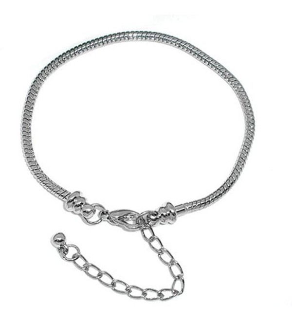 "Bracelet Fits 7""- 9 Inch for Pandora Beads Snake Chain Lobster Clasp Adjustable (Screw End) - C21198MVA4H"