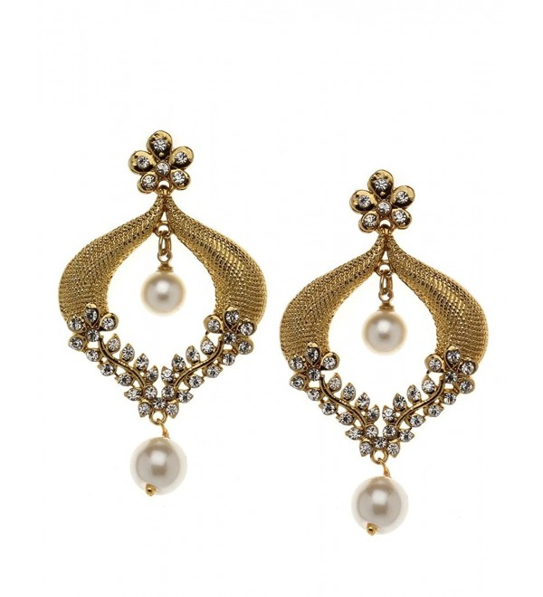 Bindhani Indian Bollywood Style Bridal Wedding Earrings For Women (White) - C7129U43ATP