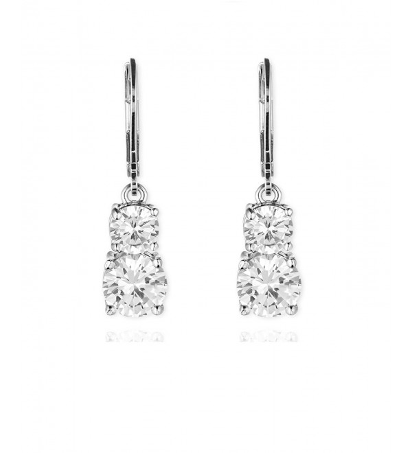 Anne Klein Flawless Crystal Lever-Back Double-Stone Drop Earrings - Silver - C311SW621T9