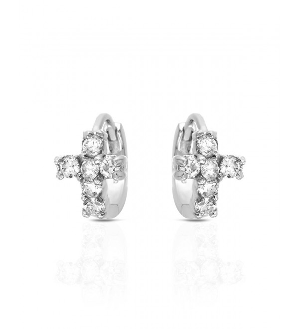 MCS Jewelry Sterling Silver Cubic Zirconia Cross Huggies Earrings - CR1232T8CU7