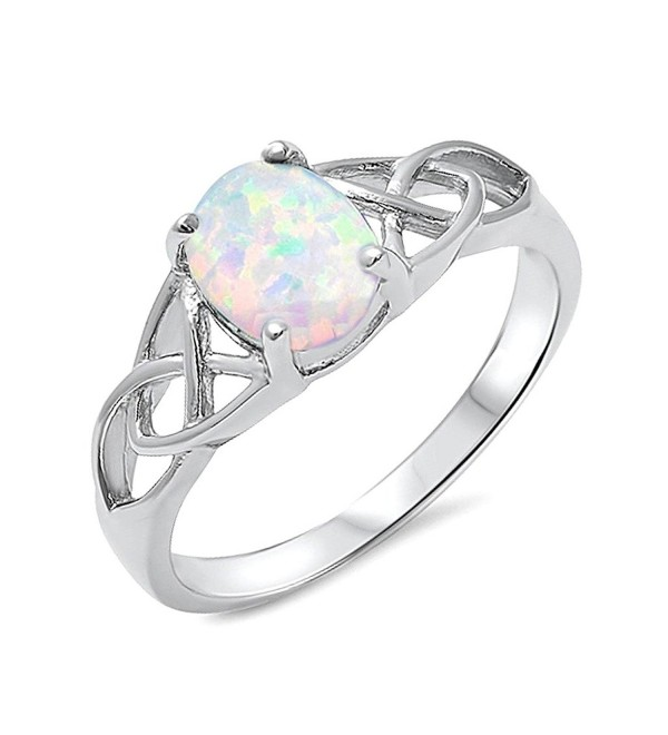 .925 Sterling Silver Lab Created Opal Celtic Design Womens Promise Fashion Ring Band Sizes 5-10 - C51838UWR62