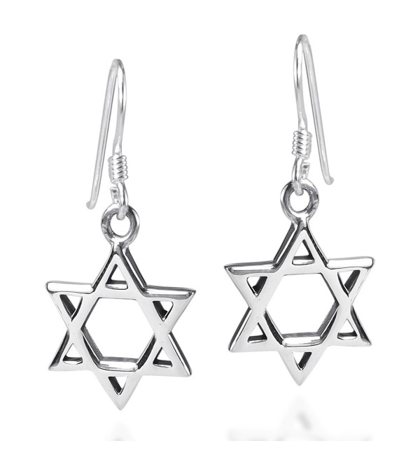 Mystical Star of David .925 Sterling Silver Fish Hook Earrings - CR11J6WYDHL