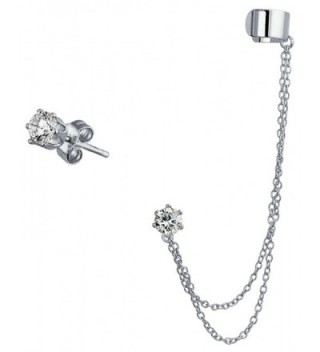 Bling Jewelry 925 Silver Double Chain CZ Linked Modern Ear Cuff Set - C912O3IDY7Z