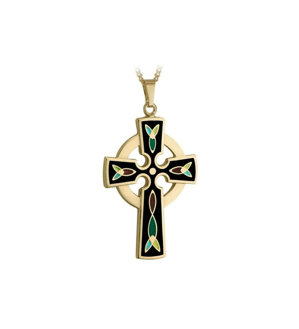 Celtic Cross Necklace 18K Gold Plated Black Irish Made - C9118NB0PS7