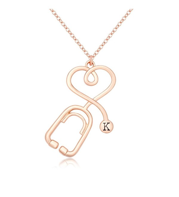 MANZHEN Rose Gold Medicine Stethoscope Heart Necklace Initial Necklace for Doctor Nurse - CA182HD3R2I