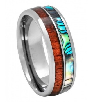 PCH Jewelers Tungsten Hawaiian Koa Wood and Abalone Inlay Wedding Ring Dome Size 6 to 15 - C712FWZHU8T