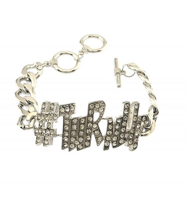 Crystal pave rhinestone embedded word bracelet TuRnUp jewelry - SILVER-PLATED - CW11SLU50C1