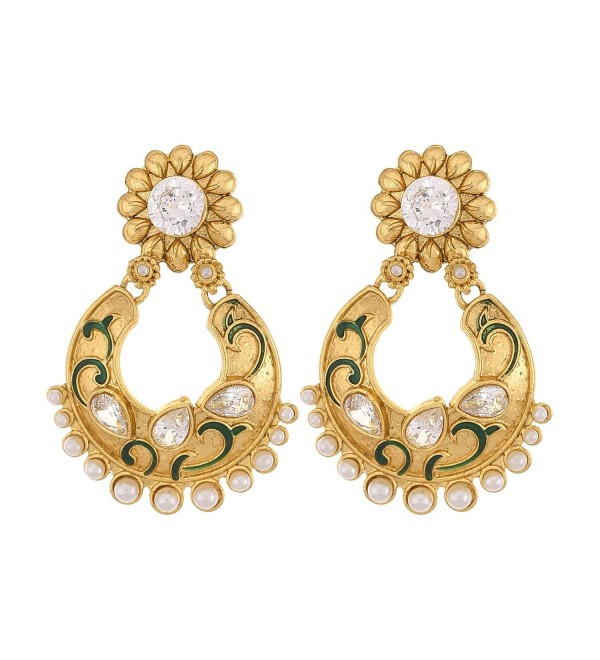 Prakash Jewellers indian style gold plated traditional gorgeous pearl and meena earrings for women - CK183KNE5W6