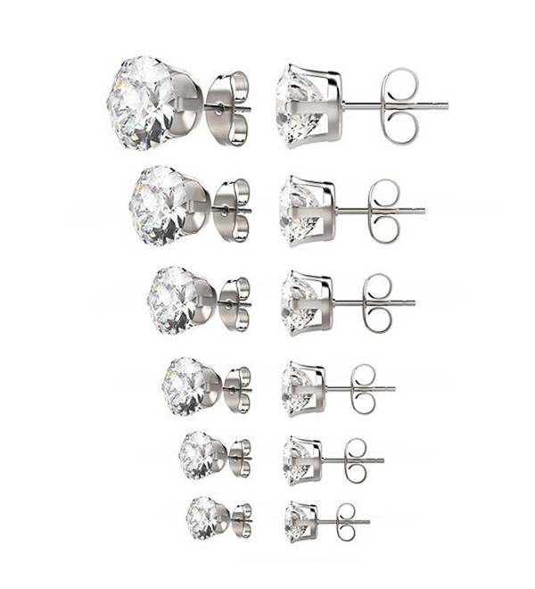 Gifts for her / women 6 pairs 3-8mm mixed sizes womens Surgical 316L stainless steel Cubic Zirconia stud earrings - CY12MZCJGM7