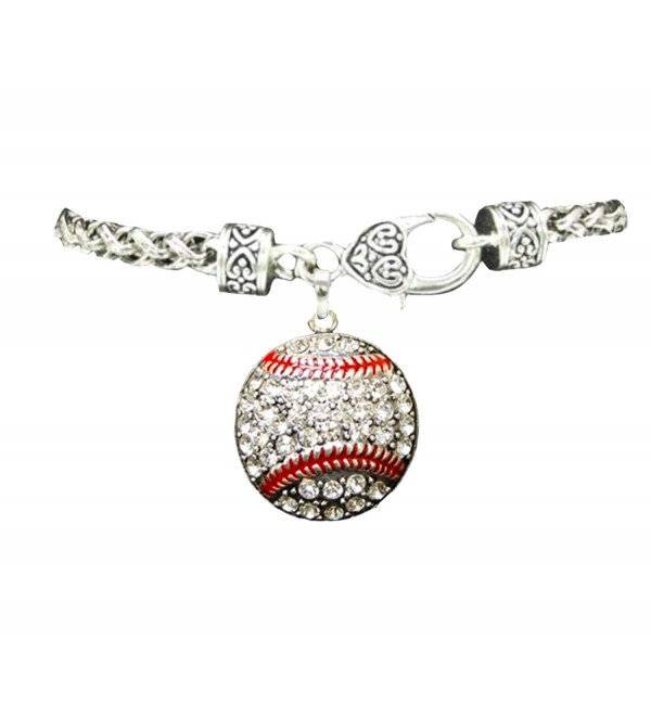 Baseball Clear Crystals Red Stitching Lobster Claw Bracelet Sports Jewelry - CF11CYTE9YZ