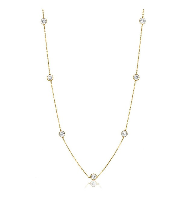 "NYC Sterling Women Gold Plated Sterling Silver 3MM Round Cubic Zirconia Station Necklace 16""-30"" - CE183IHNUKY"
