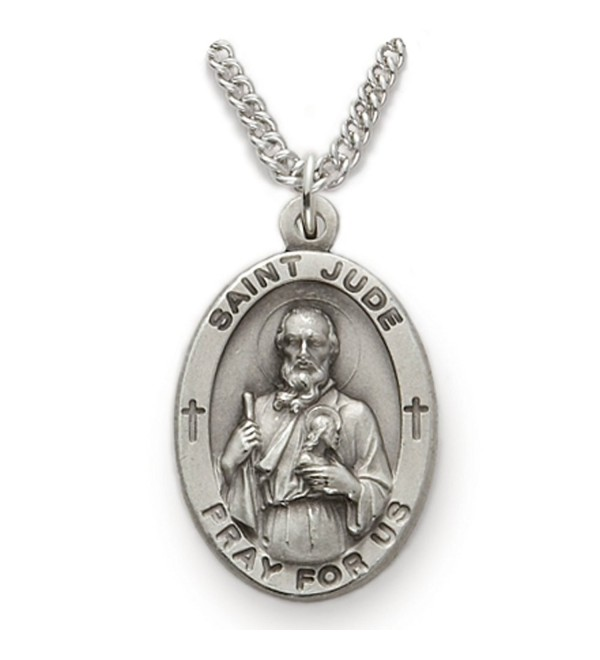 Sterling Silver Oval Saint Jude Patron of Hopeless Causes Medal- 7/8 Inch - CY12FSWFP2T