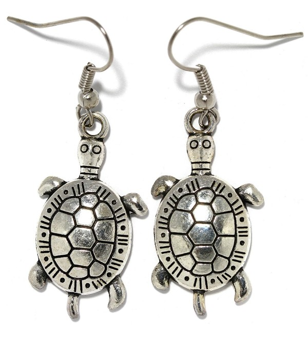 AnsonsImages Sea Turtle Dangle Earrings Silver Metallic Tone Alloy - CM184968WZI