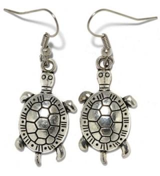 AnsonsImages Sea Turtle Dangle Earrings Silver Metallic Tone Alloy - CM184968WZI