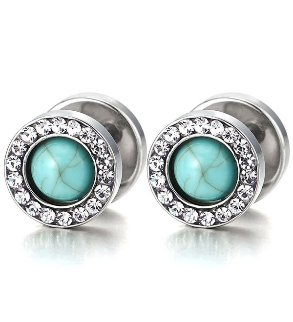 Men Women Steel Stud Earring- Illusion Tunnel Plugs Gauges- Blue Synthetic Turquoise and CZ- 2pcs - CU182WD0HA6