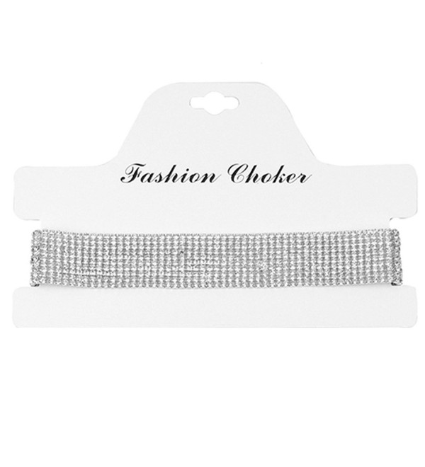 Glamaker Women's Wide Thick Diamond Neck Rhinestone Choker Necklace - silver - CR12NABF16A