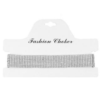 Glamaker Women's Wide Thick Diamond Neck Rhinestone Choker Necklace - silver - CR12NABF16A