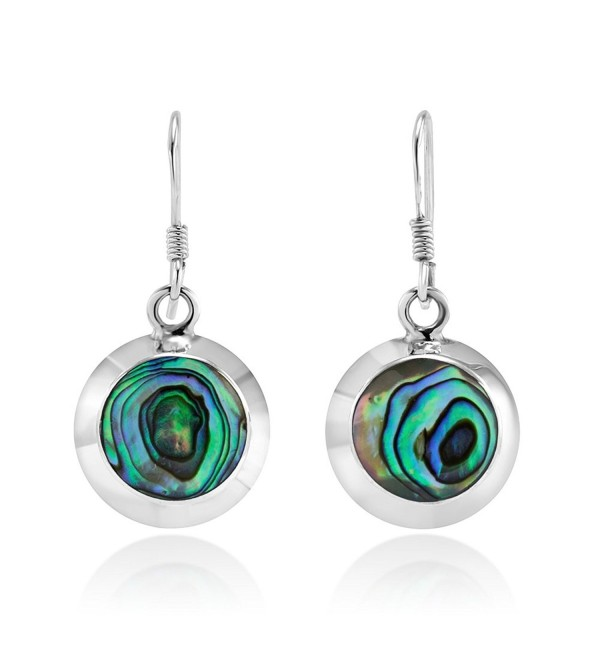 925 Sterling Silver Abalone Shell Round Dangle Earrings - CN11M8OYNU1