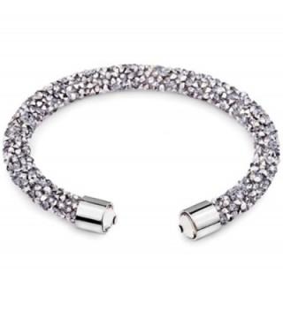 Silver and Post Women's Swarovski Crystals Gray Cuff Bracelet Design- Bamboo Gift Box Included - C218926IRTO