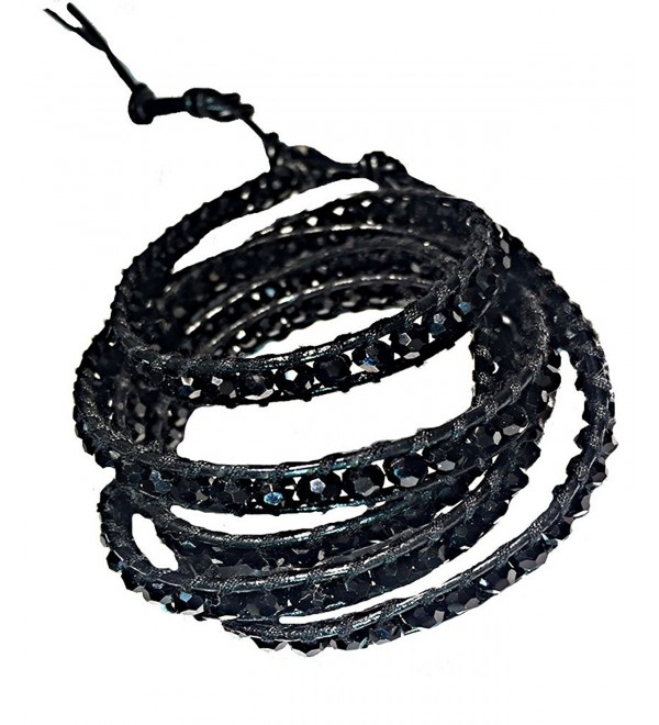 Black Crystal 5 Wrap Leather Bracelet | Emily LaRosa - CF129ORRIIN