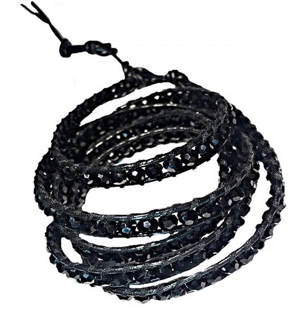Black Crystal 5 Wrap Leather Bracelet | Emily LaRosa - CF129ORRIIN