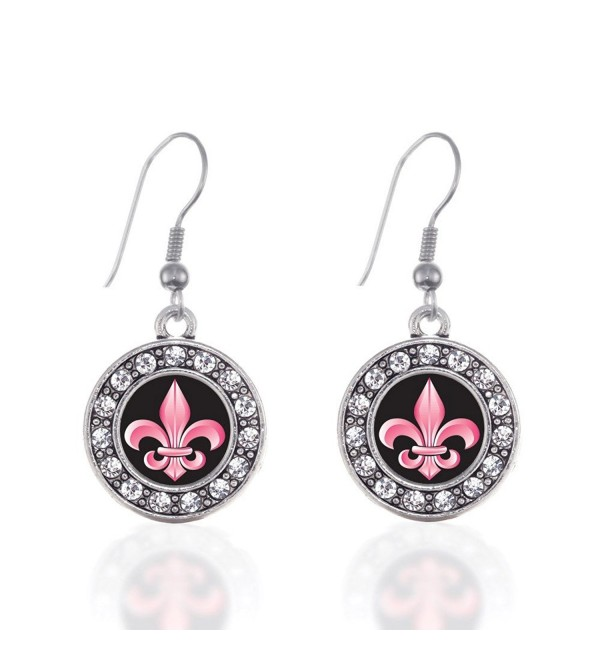 Inspired Silver Fleur De Lis Circle Charm French Hook Earrings - C812J71MXIB