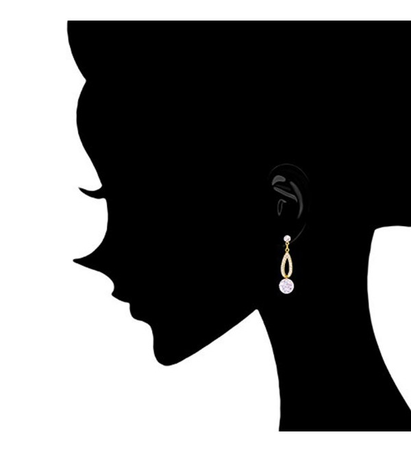 18k Gold Plated Cubic Zirconia Oval Drop Earrings (6.50 carats) - 18k Yellow Gold Plated - CB11O2SNT6Z