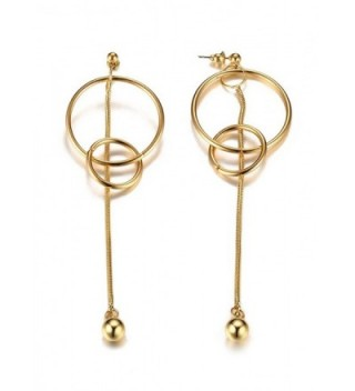 PJ Jewelry Fashion Minimalist Two Round Loops Interlock with Vertical Bar Drop Dangle Earrings - CJ184DOOX9K
