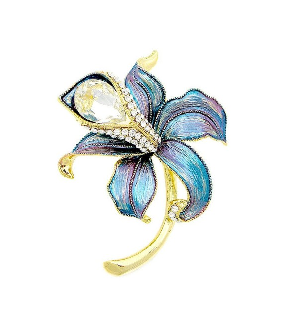 Glamorousky Blue Flower Brooch with Silver Austrian Element Crystal and CZ (4945) - CZ118SOD99L
