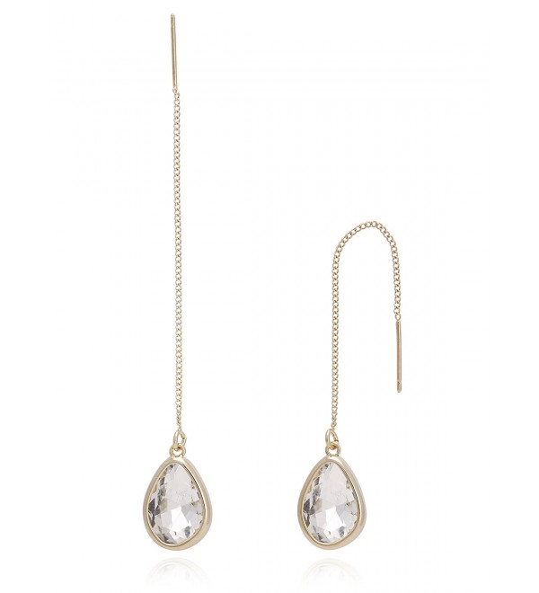 BONALUNA Crystal Sparkled Tear Drop Stone And Yellow Gold Plated Metal Chain Pierced Long Earrings - CLEAR - CH1869D9EST