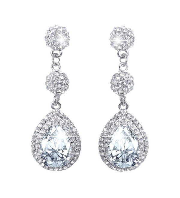 EVER FAITH Women's CZ Austrian Crystal Art Deco Teardrop Bridal Dangle Earrings - Clear Silver-Tone - C111BGDNA4T