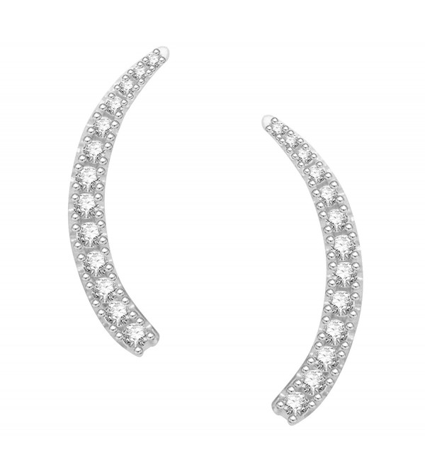 Sterling Silver Cubic Zirconia Ear Climber Crawler Earrings 25mm (Yellow or White) - White - CH12DLDQS6J