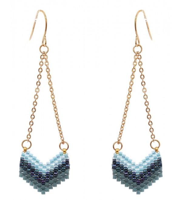 Women's Seed Beaded Chevron Dangle Pierced Earrings - Blue Mix/Gold-Tone - CE186SHH2AS