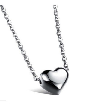 Stainless Steel Womens Small Heart Pendant Love Collarbone Necklace Romantic (Silver) - CU12IZC9NIL