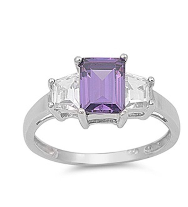 CHOOSE YOUR COLOR Sterling Silver Rectangle Ring - Simulated Amethyst - CZ187YYG6ZO