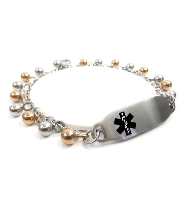 MyIDDr - Pre-Engraved & Customized Penicillin Allergy ID Bracelet- Steel Raindrop - CM11HUM0V6B