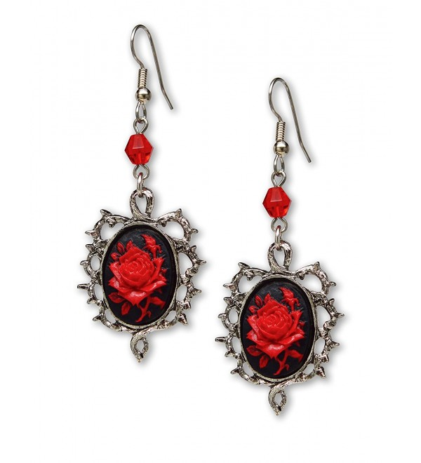 Gothic Red Rose Cameo Earrings Surrounded by Thorns with Red Bead - C811IZFSNIP