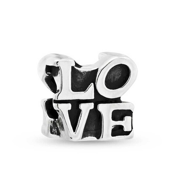 Bling Jewelry Letters of Love Pop Art Bead Charms .925 Sterling Silver - C5115M7USR3