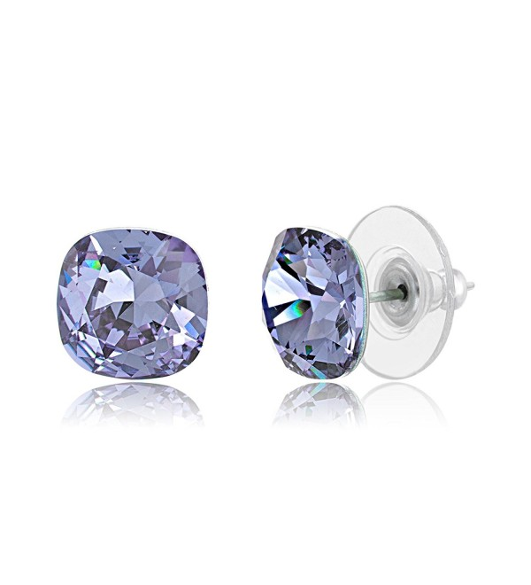 Lesa Michele Violet Cushion Stud Earring in Stainless Steel made with Swarovski Crystals - CD187ZYK08Q
