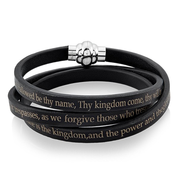 Stainless Steel Lord's Prayer Wrap Leather Bracelet (6.5 mm) - CB12BNQXN5Z