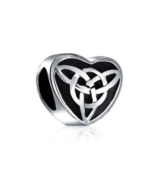 Bling Jewelry Oxidized Celtic Knot Charm 925 Sterling Silver Triquetra Heart Charm Bead for Bracelet - CJ1184HKV7F