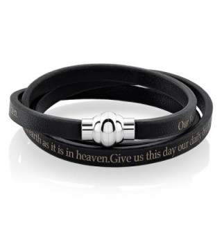 Stainless Steel Prayer Leather Bracelet
