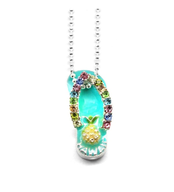 Hawaii Tropical Sparkling Flip Flop with Pineapple Necklace with Chain - CR18688Z0DU