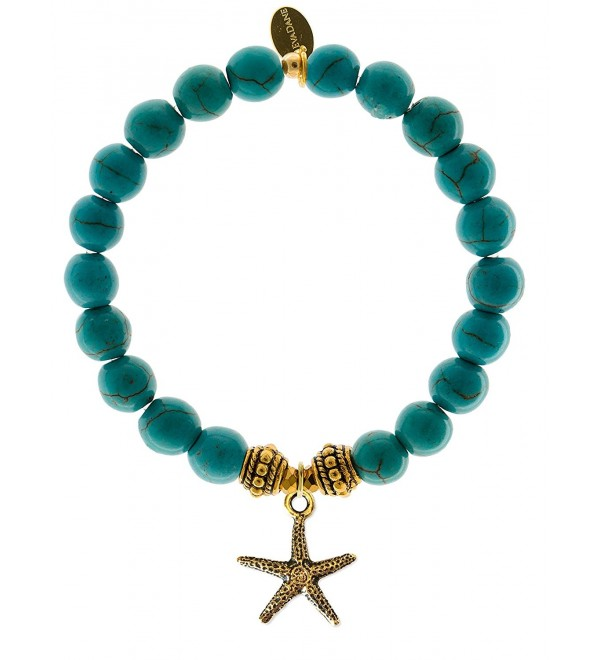 EvaDane Natural Turquoise Gemstone Rope Bead Starfish Charm Stretch Bracelet - CW12DR1AUU9