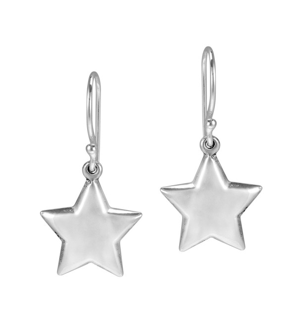 Lucky Twinkle Stars .925 Sterling Silver Dangle Puff Earrings - CL11N32JZL9