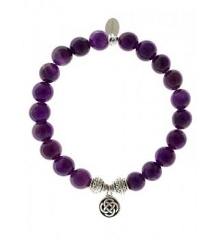 EvaDane Natural Amethyst Gemstone Tibetan Bead Celtic Knot Charm Stretch Bracelet - CM129PDA3PF