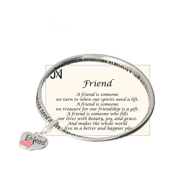 Silver-tone Friend Twist Bangle Bracelet with Friend Heart Charm by Jewelry Nexus - CF11EH7VAFH