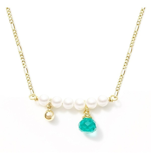 Original Design Handmade Gold-Plated Horizontal Pearl Teal Quartz Necklace for Her - CT12O3KV5HS